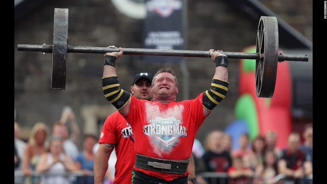 Johnathan Kelly competes in the UK's Strongest Man final Saturday, August 27, in Belfast, Northern Ireland.