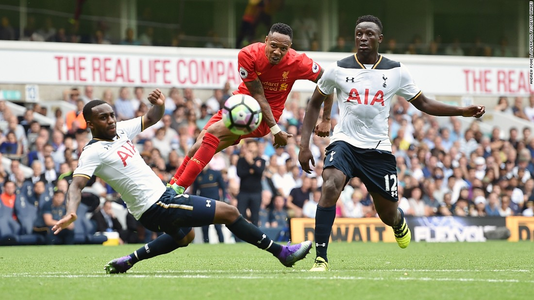 Liverpool's Nathaniel Clyne is closed down by two Tottenham players during a Premier League match in London on Saturday, August 27.