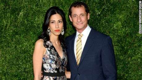Huma Abedin and Anthony Weiner attend the 12th annual CFDA/Vogue Fashion Fund Awards at Spring Studios on November 2, 2015 in New York City.