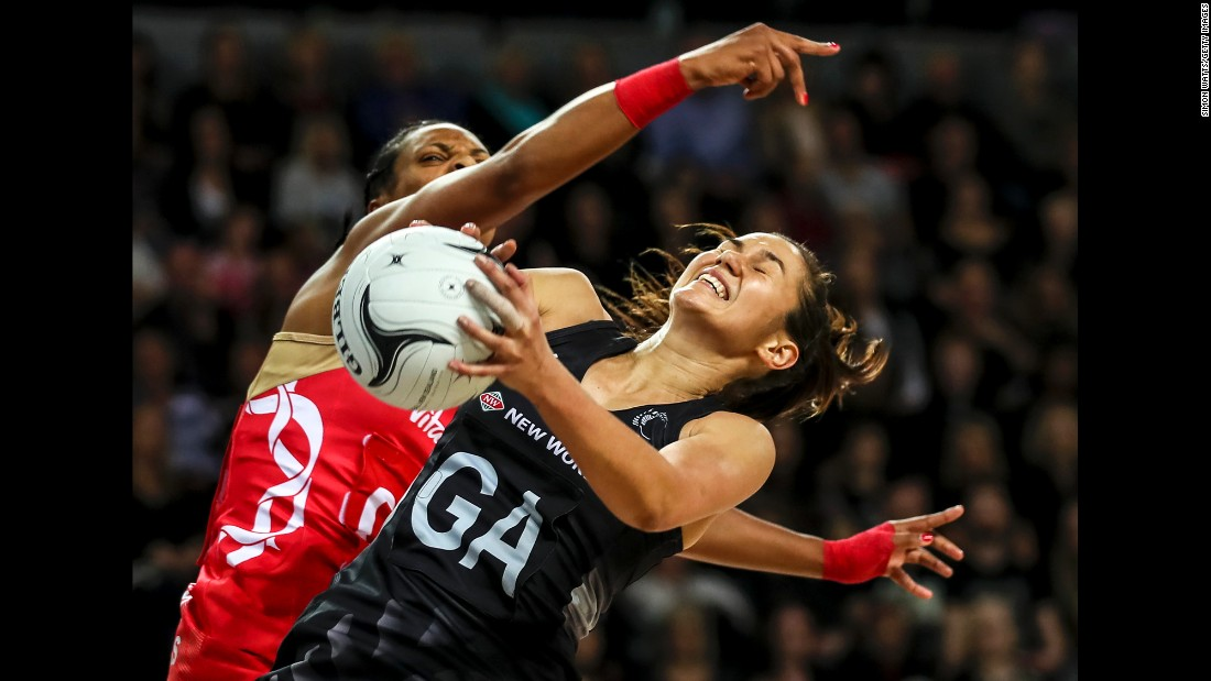 New Zealand's Ameliaranne Ekenasio is pressured by England's Stacey Francis during a netball match in Auckland, New Zealand, on Saturday, August 27.