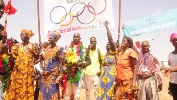 Five of the Olympic Refugee Team receive a rapturous reception at Kakuma camp in Kenya where they grew up.