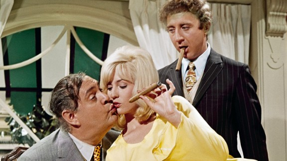 """Wilder -- at right with Zero Mostel and Lee Meredith -- was the stressed-out Leo Bloom in Mel Brooks' breakout film, """"The Producers"""" in 1968. He was nominated for an Academy Award for best supporting actor."""