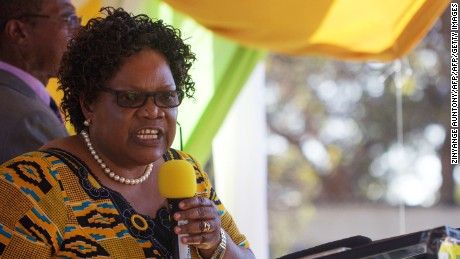 Former vice president Joice Mujuru speaks during the launch of her party, Zimbabwe People First (ZimPF) on June 19, 2016.