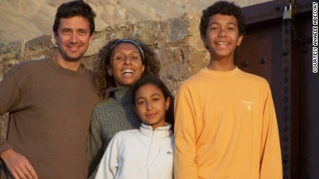 This picture of the Abescat family was taken days before Anaële's father was killed in Saudi Arabia.