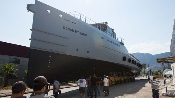 The Ocean Warrior has a deck area large enough to accommodate a helicopter and several small boat operations.