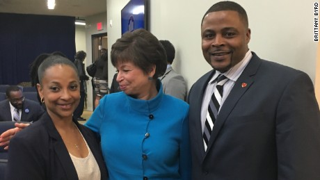 Sharanda Jones visits the White House to speak about criminal justice reform with Valerie Jarrett, Senior Advisor to President Barack Obama, while still under the control of the Bureau of Prisons. The two are pictured with Reynolds Wintersmith, another recipient of commutation.