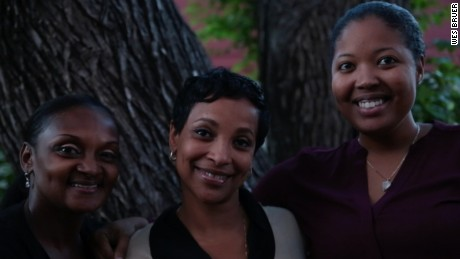 Sharanda Jones with her sister, Sherena, and her attorney Brittany Byrd following her release from the halfway house.