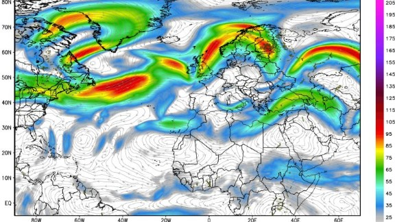 This map shows upper level winds around flight level. The jet stream refers to the belt of strongest winds, indicated by the brighter orage and red colors on the map. Obtained from Weatherbell.com.