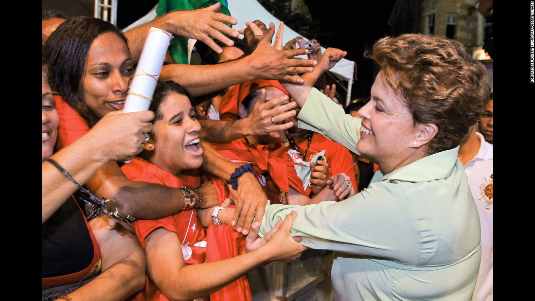 Rousseff campaigning for the presidency in 2010.