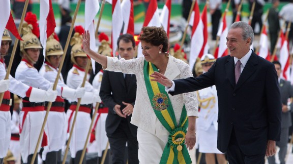 Dilma Rousseff is sworn in to her first term on January 1, 2011, becoming Brazil's first female president. She's seen here with running mate Michel Temer, who has now succeeded her as president.