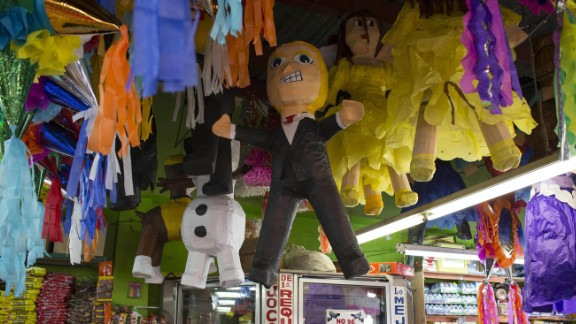 A piñata representing US Republican presidential candidate Donald Trump is displayed for sale at a candy shop in downtown Tijuana.