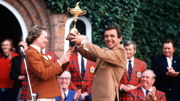 Jacklin holds aloft the Ryder Cup after victory at The Belfry.