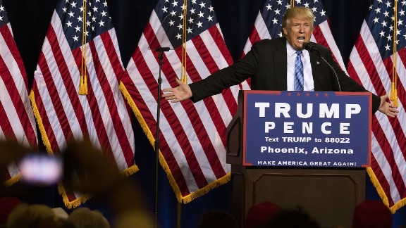 PHOENIX — AUG 31: Republican Presidential candidate Donald J. Trump gives a speech on his immigration policy at the Phoenix Convention Center, Phoenix, Arizona, August 31, 2016. (Photo by David Hume Kennerly/GettyImages)