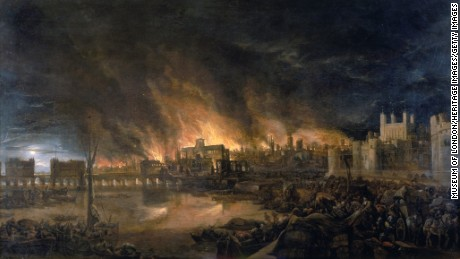 Scene depicting the fire as it would have appeared between eight and nine o'clock on the evening of Tuesday 4th September