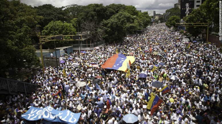 Protesters fill the streets in Venezuela