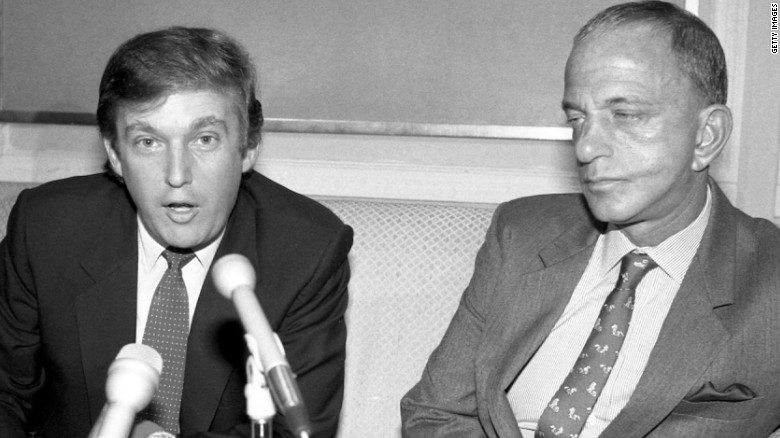 Trump appearing with Roy Cohn, who died in 1986.