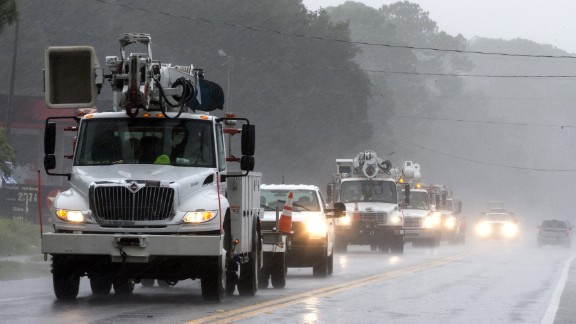 Power crews from South Carolina arrive in Carrabelle, Florida, on September 1.