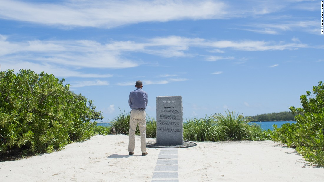 Obama also visited the Battle of Midway Navy Memorial.