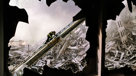 """Steve McCurry's haunting image of a lone firefighter amid the ruins of ground zero. On September 11, 2001, Magnum photographers, in New York for a meeting, witnessed the events of the day. CNN's Ray Sanchez spoke with a few of those photographers about the images they captured, which were published in a book called """"New York September 11."""""""