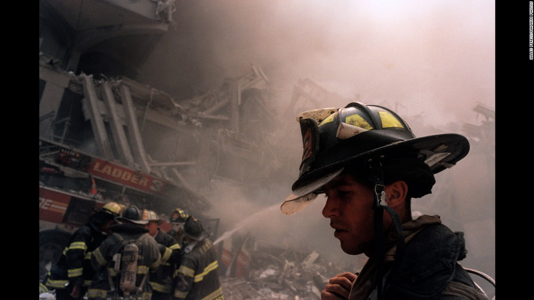 Of the 2,753 people who perished in New York, 343 were firefighters, 23 were police officers and 37 were officers with the Port Authority. (Gilles Peres)