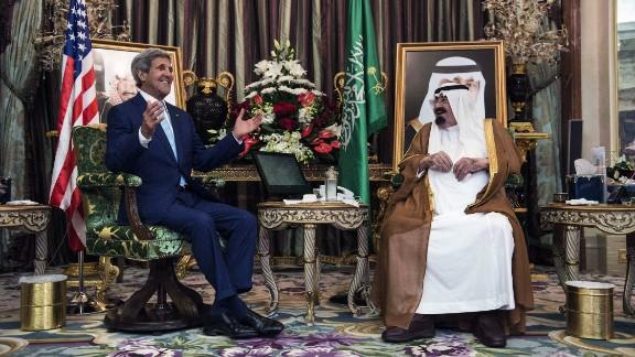 Kerry meets with Saudi King Abdullah bin Abdulaziz al Saud at the Royal Palace in Jeddah in 2014.
