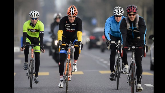 Kerry sometimes takes his bicycle with him when he travels. In March 2015, he goes for a ride in Lausanne, Switzerland.