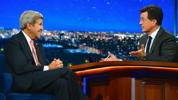 """Kerry appears on """"The Late Show with Stephen Colbert"""" in New York City in 2015."""