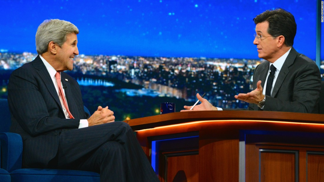 "Kerry appears on ""The Late Show with Stephen Colbert"" in New York City in 2015."