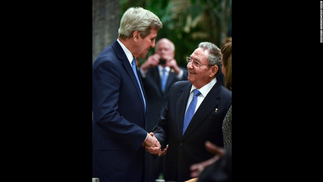 Kerry shakes hands with Cuban President Raul Castro before a state dinner at the Revolution Palace in Havana in March 2016.