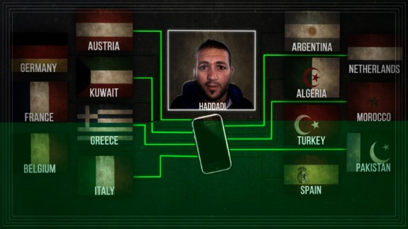 This graphic, featuring suspected ISIS operative Abdel Haddadi, shows his global network.
