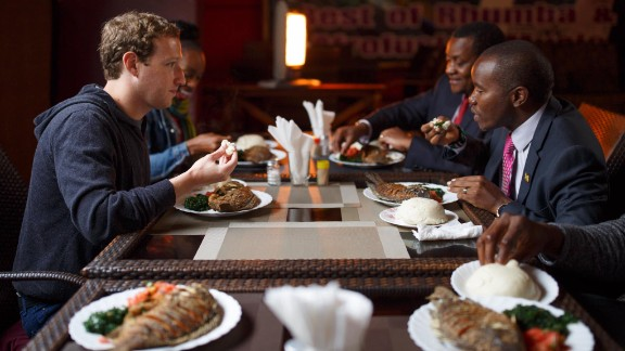 "Zuckerberg has lunch in Nairobi with Joseph Mucheru, the Kenyan Cabinet Secretary of Information and Communications. ""We talked about internet access and his ambitious plans for connecting everyone in Kenya,"" Zuckerberg posted on his Facebook page alongside the image on September 1."