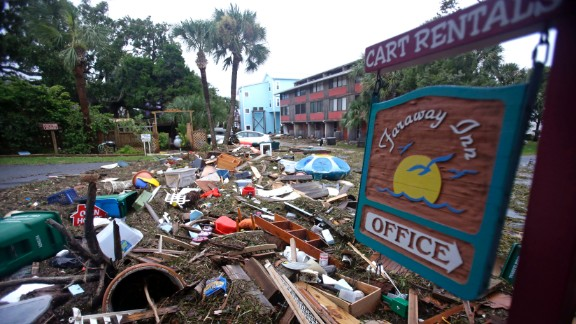 A street in Cedar Key, Florida, is blocked by debris washed up in the tidal surge of Hurricane Hermine on September 2.