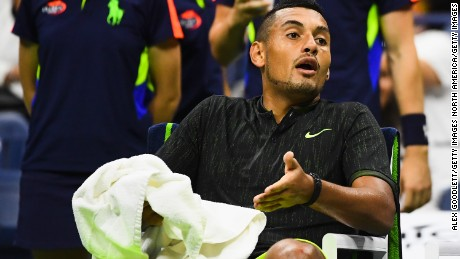 Nick Kyrgios was forced to retire from the US Open through injury.