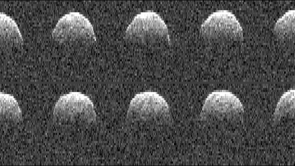 These radar images of asteroid Bennu were obtained by NASA's Deep Space Network antenna in Goldstone, California, on September 23, 1999. This is when they first discovered the asteroid.