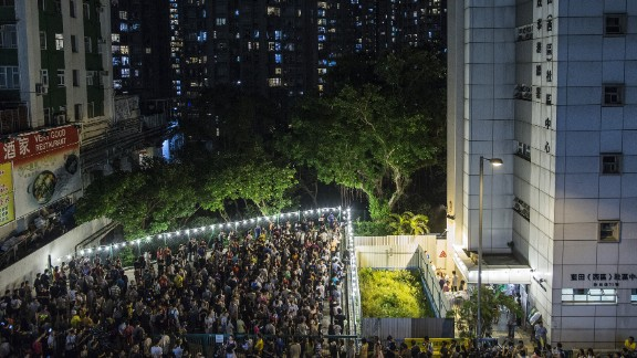People line up to vote in Hong Kong. Sunday