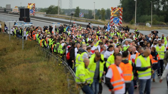 """French business owners and local residents block the main road into the Port of Calais as they protest """"The Jungle"""" on Monday, September 5."""