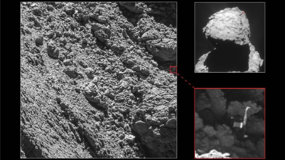 """We are so happy to have finally imaged Philae, and to see it in such amazing detail,"" says Cecilia Tubiana of the OSIRIS camera team. She was the first person to see the images when they were downlinked from the Rosetta probe, according to the European Space Agency."