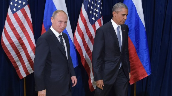US President Barack Obama and Russia's President Vladimir Putin leave after posing for a photo ahead of a bilateral meeting on the sidelines of the 70th session of the UN General Assembly at the United Nations headquarters on September 28, 2015 in New York. AFP PHOTO/MANDEL NGAN        (Photo credit should read MANDEL NGAN/AFP/Getty Images)