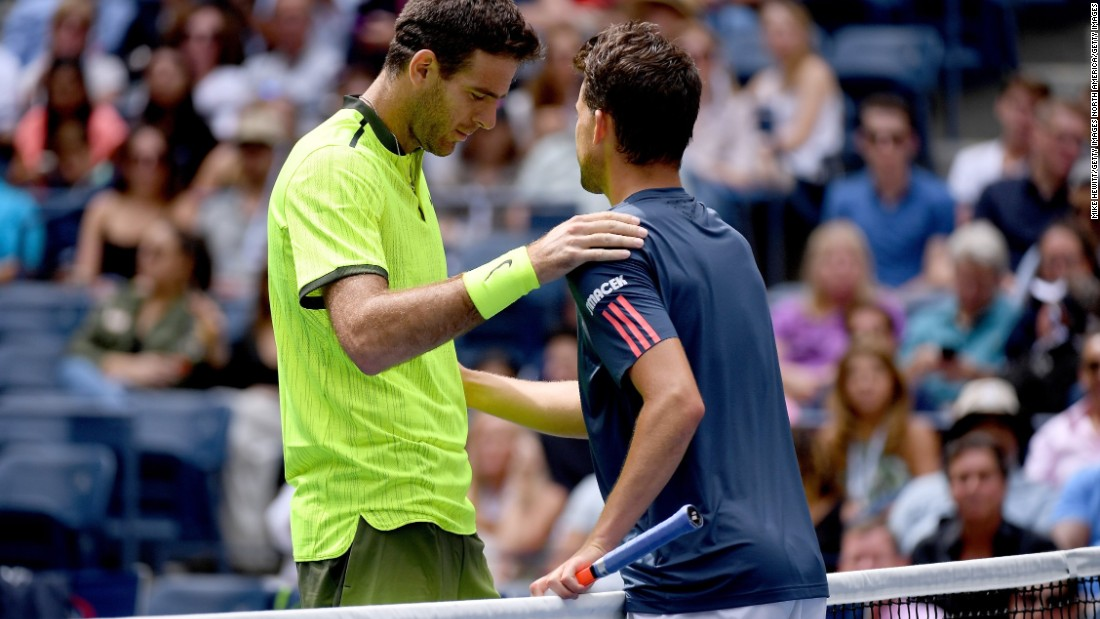Thiem had to retire trailing 6-3 3-2 and del Potro was into his first grand slam quarterfinal since 2013.