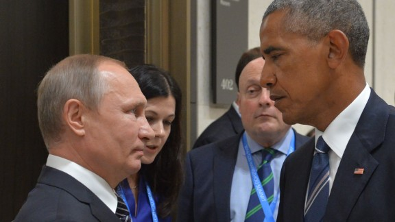 Russian President Vladimir Putin (L) meets with his US counterpart Barack Obama on the sidelines of the G20 Leaders Summit in Hangzhou on September 5, 2016. / AFP PHOTO / SPUTNIK / ALEXEI DRUZHININALEXEI DRUZHININ/AFP/Getty Images