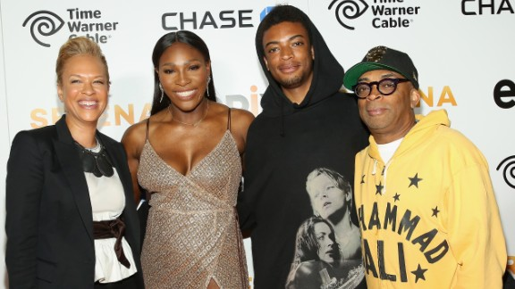Tonya Lewis Lee, Serena Williams and Director Spike Lee (far right) attend the EPIX New York Premiere of