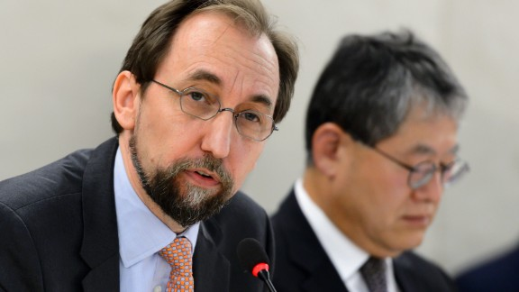 """United Nations High Commissioner for Human Rights Zeid Ra'ad Al Hussein (L) delivers a speech next to UN Human Rights Council Choi Kyonglim of South Korean at the opening of a new Council's session on June 13, 2016 in Geneva. Registration centers for migrants arriving on the Greek islands from the Turkish coast are essentially """"large areas of forced confinement"""", on Monday denounced the UN High Commissioner for Human Rights Zeid Ra'ad Al Hussein. / AFP / FABRICE COFFRINI        (Photo credit should read FABRICE COFFRINI/AFP/Getty Images)"""