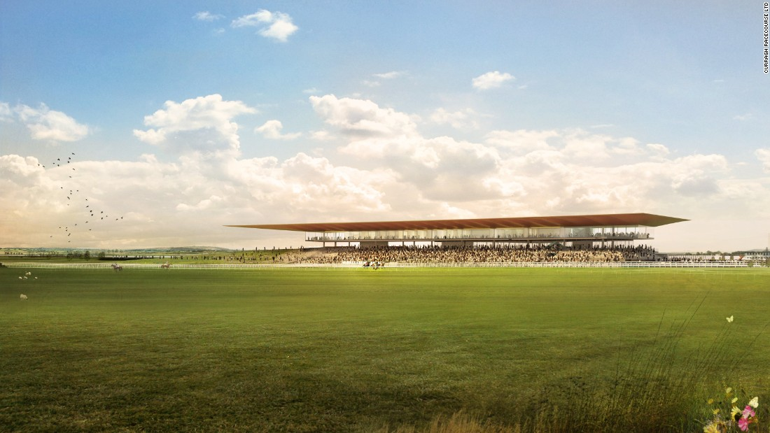 A view across the expanses of the Curragh to the new grandstand.
