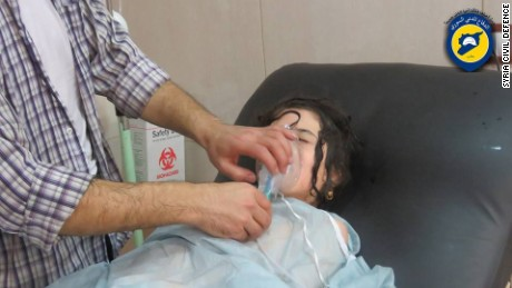 This still from a video shows a girl treated at a makeshift hospital after what a rescue group called a chemical attack on her Aleppo neighborhood.