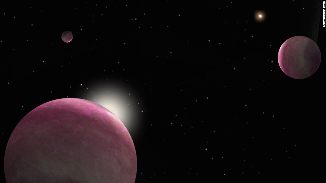 Artist's conception of the binary system with three giant planets discovered, where one star hosts two planets and the other hosts the third. The system represents the smallest-separation binary in which both stars host planets that has ever been observed.