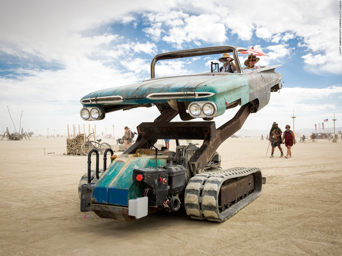 Burning Man\'s art cars - mutant vehicles eat dust ... and people ...