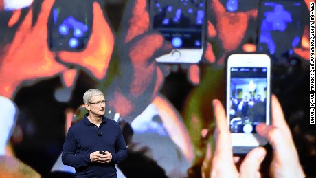 Tim Cook, chief executive officer of Apple Inc., speaks during an event in San Francisco, California, U.S., on Wednesday, Sept. 7, 2016. Apple Inc. unveiled new iPhone models Wednesday, featuring a water-resistant design, upgraded camera system and faster processor, betting that after six annual iterations it can still make improvements enticing enough to lure buyers to their next upgrade. Photographer: David Paul Morris/Bloomberg via Getty Images