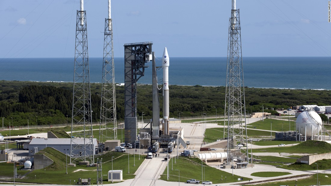 OSIRIS-REx sits on top of its launch vehicle, a United Launch Alliance Atlas V rocket, after it was rolled to the launch pad at Cape Canaveral on September 7, 2016.