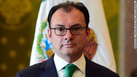 Mexico's resigning Secretary of Finance Luis Videgaray during a press conference at the Palacio Nacional in Mexico City on September 7, 2016. Mexico's finance minister Luis Videgaray stepped down on Wednesday, a surprise move that follows his reported key role in Donald Trump's controversial meeting with President Enrique Pena Nieto.  / AFP / ALFREDO ESTRELLA        (Photo credit should read ALFREDO ESTRELLA/AFP/Getty Images)