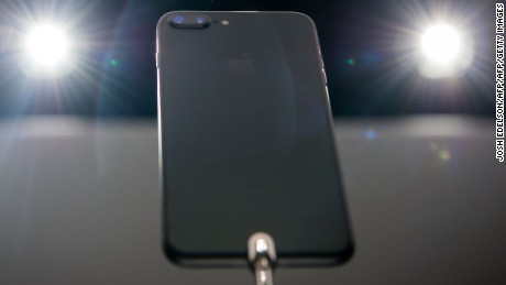 The iPhone 7 Plus is seen on display during an Apple media event on September 7, 2016